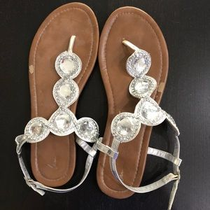 Silver Bling Sandals Wide Width